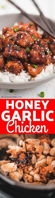 This Instant Pot Honey Garlic Chicken is a delicious and easy asian inspired recipe. Juicy chicken is sauced with a mixture of honey, soy sauce, minced garlic, and for some heat - sriracha sauce. It is a flavor explosion in every bite! Soy Sauce Chicken, Honey Soy Chicken, Asian Recipes, Healthy Recipes, Fun Recipes, Recipies, Honey And Soy Sauce, Pressure Cooker Recipes, Pressure Cooking