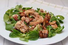 lauwwarme salade met kippendij, champignons en spekjes - karlijnskitchen.com