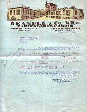 Geschäftsbrief aus Wil (Schweiz) - Brändle & Co. Papierwaren. 1933