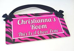 hot pink zebra print door sign girls bedroom animal by kasefazem, $16.99