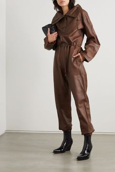 Brown Piki leather jumpsuit | Dodo Bar Or | NET-A-PORTER Leather Jumpsuit, Jennifer Fisher, Funnel Neck, Brown Leather, Menswear, Coat, Latex, How To Wear, Jackets