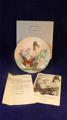 1988 W.S. George Lena Liu Monarch Butterflies On Gossamer Wings China Plate MINT / $32