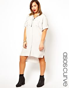 I would wear this like every other day. ASOS CURVE Exclusive Shirt Dress With Military Detail