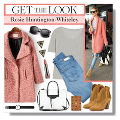 """""""Get the Look - Rosie's Airport Style"""" by lgb321 ❤ liked on Polyvore featuring JVL, T By Alexander Wang, AG Adriano Goldschmied, Balenciaga, Yves Saint Laurent, Nokewy, MCM, House of Harlow 1960, Rosendahl and LORAC"""