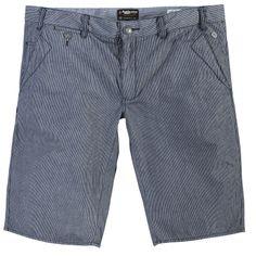 Short Long Réplika  grande taille pour homme 100% coton Fines rayures Poches sur le coté Fermeture bouton et zip