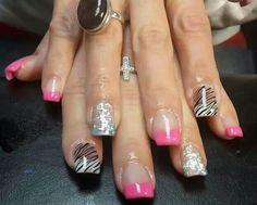 Pink sparkle zebra nails