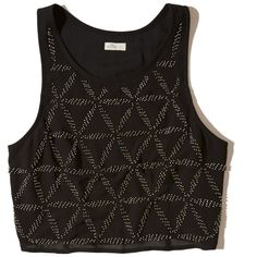 Hollister + Sydney Sierota Embellished High-Neck Tank (53 AUD) ❤ liked on Polyvore featuring tops, embellished black, high neck racerback tank, racer back tank top, beaded tank top, crop tank and embellished crop top
