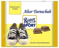 RITTER SPORT Fake Schokolade Alter Turnschuh Trick R Treat, Chocolate Dreams, Sport 2, Humor, Jokes, Funny, Alter, Photoshop, Cartoon