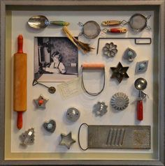 shadow box idea. For my kitchen with all my childhood dishes.