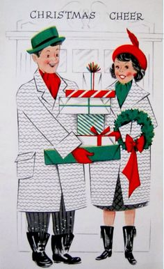 Vintage Used Christmas Greeting Card: Couple Delivering Gifts Back of card: Litho in U. Hand writing inside of card. Christmas Card Images, Vintage Christmas Images, Christmas Graphics, Old Christmas, Old Fashioned Christmas, Retro Christmas, Vintage Holiday, Christmas Greeting Cards, Christmas Pictures