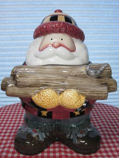 Debbie Mumm Christmas Cookie Jar Woodland Santa by Sakura 1998