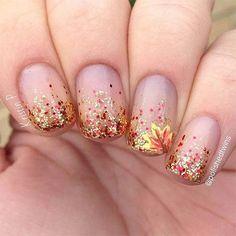 Red And Gold Glitter Accent Autumn Fallen Flower Nail Art