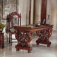 SkyMall Effingham Library Table by SkyMall. $1199.00. Effingham Library Table The stylized gryphons and ornate filigree scrollwork hand-carved to create the legs of this Toscano exclusive are nothing short of amazing! The egg-and-dart molding surrounding the double-tiered, kiln-dried top of this exquisite sculptural piece allows you to admire it from every angle. Whether you use it as a writing desk, a hall table or as the pice de rsistance in your entryway, this signature creat...