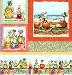 "The Fruit Ladies Craft Panel, designed by Mary Stewart for Elizabeth Studio, features framed images of ladies at the beach with delicious swimsuits that look like apples, bananas, cherries and other tasty delights. The panel measures about 23.5"" x 44""."