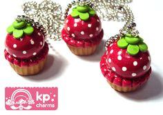 strawberry cupcakes by KPcharms.deviantart.com
