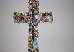Cross bejeweled 16 inch handcut thick wooden by Crossesinspired, $80.00