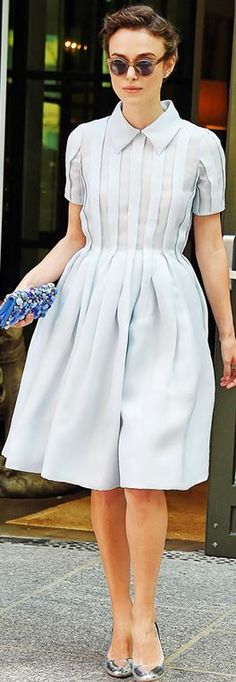 Who made Keira Knightley's crystal clutch handbag and pleated collar dress that she wore in New York on June 26, 2014