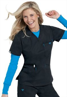 Medcouture by Peaches EZ Flex classic v-neck scrub top. My favorite scrubs!