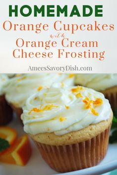 Orange cupcakes made with orange zest and freshly squeezed juice are as delicious as they are pretty to serve. These homemade cupcakes are simple to make and loaded with amazing citrus flavor! Easy No Bake Desserts, Just Desserts, Delicious Desserts, Dessert Recipes, Yummy Food, Awesome Desserts, Healthy Food, Orange Cupcakes, Pumpkin Cupcakes