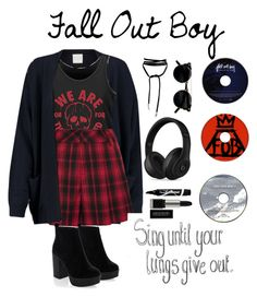 """Fall out boy concert"" by joklp ❤ liked on Polyvore featuring Madeleine Thompson, Alice + Olivia, New Look, Beats by Dr. Dre and Maybelline"