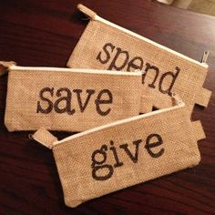Such a great way to organize your cash....Save, Give, Spend Pouch Set from Shop24 on etsy