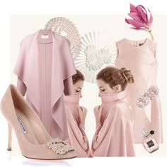 Manolo Blahnik Hangisi Rose Tone Outfit #Manolos #Style