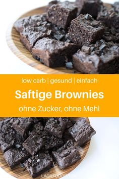 Köstliche Low Carb Brownies (glutenfrei, zuckerfrei) Do you fancy low carb brownies? Then I have something for you here: A healthy recipe for low carb brownies, simple, without special ingredien Low Carb Sweets, Low Carb Desserts, Healthy Sweets, Low Carb Recipes, Snack Recipes, Dessert Recipes, Dinner Recipes, Healthy Recipes, Low Carb Chocolate