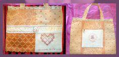 """borsa per uno scambio- realizzata partendo """"dal nulla"""" - ricami da disegni del libro Petite message brodée"""