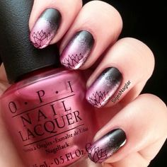 #veckansopi A-rose at dawn... broke by noon. Gradient with opi lady in black and a stamp from Bundle monster BM-616