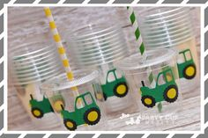 Tractor Birthday Party-Kids Party Cups-Farm by PartyCupMedley