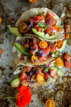 Grilled Halibut Tacos with Watermelon Salsa by heaetherchristo #Tacos #Halibut…