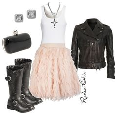 """""""Little Bit of Devil in Her Angel Eyes"""" by rodeo-chic, ruffle skirt with Harley Davidson motorcycle boots, biker leather jacket, rock n roll"""