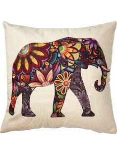 "Generic Bright Color Flower Elephant Burlap Pillow Cases Cushion Covers, 18"" x 18"" ❤ Generic"