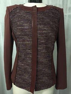 Lafayette 148 Burgundy Tweed Leather Trim Women's Blazer Jacket Size 12 NWT $648 #Lafayette148NewYork #Blazer