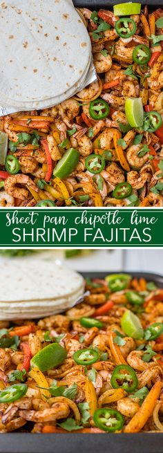 All the fixings for these chipotle lime shrimp fajitas are seasoned together, then baked on one sheet pan, for a seriously simple and delicious weeknight dinner ready in 20 minutes! Shrimp Fajita Recipe, Shrimp Fajitas, Steak And Shrimp, Baked Shrimp, Seafood Recipes, Mexican Food Recipes, Cooking Recipes, Healthy Recipes, Fish Recipes