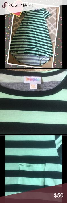 BNWT XXS CARLY BNWT XXS CARLY, MINT AND BLACK STRIPED LuLaRoe Dresses High Low