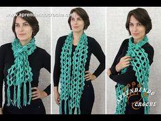 Cachecol de Crochê Jade - Aprendendo Croche - YouTube Crochet Scarves, Crochet Shawl, Easy Crochet, Crochet Scarf Youtube, Jad, Crochet Videos, Neck Warmer, Craft Gifts, Short Skirts