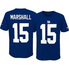 Nike Youth New York Brandon Marshall #15 Pride Blue T-Shirt, Size: Medium, Team