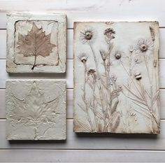 Plaster cast wild flowers in neutral tones with white Plaster Crafts, Plaster Art, Nature Prints, Art Prints, Paris Crafts, Plaster Of Paris, Cement Art, Wall Hanging Crafts, Talavera Pottery