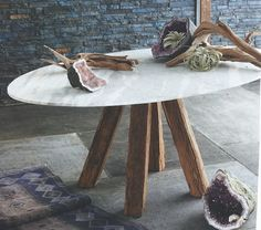 Roost Sandblasted Marble Tables | Modish Store