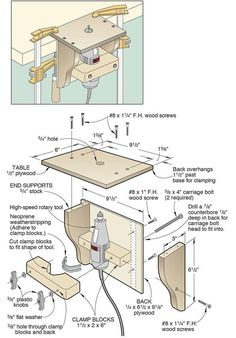 Make a mini router table for your high-speed rotary tool. Make a mini router table for your high-speed rotary tool.
