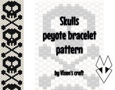 Skulls peyote bracelet pattern by Vixenscraft on Etsy