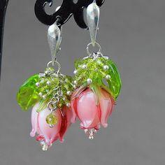 Lampwork Earrings Lampwork Flower Earrings by JewelryBeadsByKatie