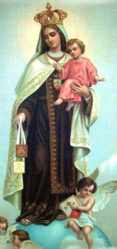 ¡Santa, Santa, Santa, Virgen del Carmen, llenos están los cielos y la tierra de la majestad y de la gloria del Fruto bendito de vuestro casto seno!