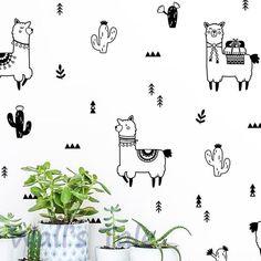 Cute Alpaca And Cactus Wall Decals Nursery Decor Diy Lovely Llama Cactus Vinyl Art Sticker Home Diy Wall Decor For Bedroom, Baby Room Wall Decor, Diy Nursery Decor, Nursery Wall Decals, Diy Home Decor, Baby Decor, Safari Theme Nursery, Girl Nursery, Girls Bedroom