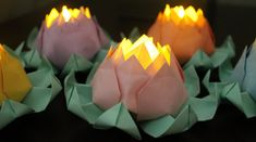 50 Pastel Lotus Blossoms for use with LED tea lights by EverBloomsFlowers - Pastel lotus blossoms with mint green leaves - great for adding subtle lighting to tables!