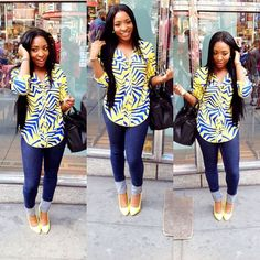 Beautiful Ankara Top On Jeans for Smart Ladies - DeZango Fashion Zone