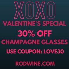 Hi Wine lovers, We are running a Valentine's Special for our Beautiful and Romantic Champagne glasses the 13-15th of February in our web store. Use Coupon: LOVE30 for a 30% Discount.  (The coupon is valid til 23:59 PST February 15th.) Grab a set of Champagne Glasses Now and celebrate love! ❤ #RODwine #rodwineco #valentines #valentineday #winelover #champagne