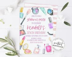 Makeup banner makeup theme party diva party spa party glam | Etsy Spa Party Invitations, Makeup Themes, Diva Party, Party Makeup, Party Themes, Banner, Happy Birthday, Place Card Holders, Messages