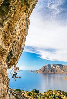 prAna Ambassador, Rannveig Aamodt negotiates a critical line on a scene 8a route in the island's famous Grande Grotta cave, Kalymnos, Greece. Click to check out our climbing collection for women.